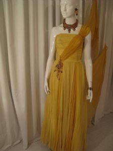 Late 1940's/ early 50's Golden yellow silk chiffon Aphrodite gown Vintage Polmarks Model **SOLD** es